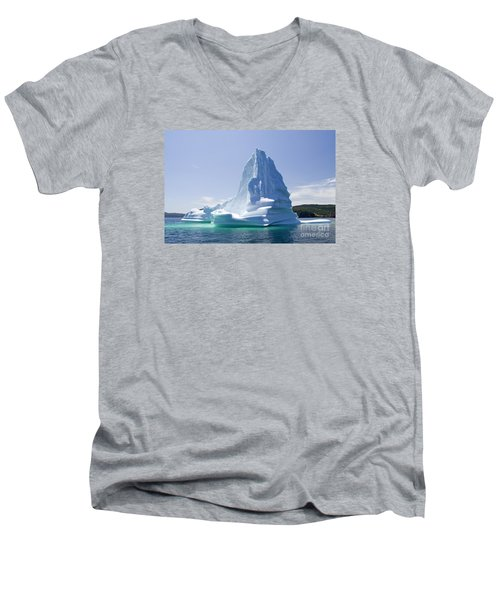 Men's V-Neck T-Shirt featuring the photograph Iceberg Canada by Liz Leyden