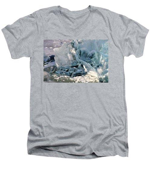Iceberg Detail Men's V-Neck T-Shirt by Cathy Mahnke