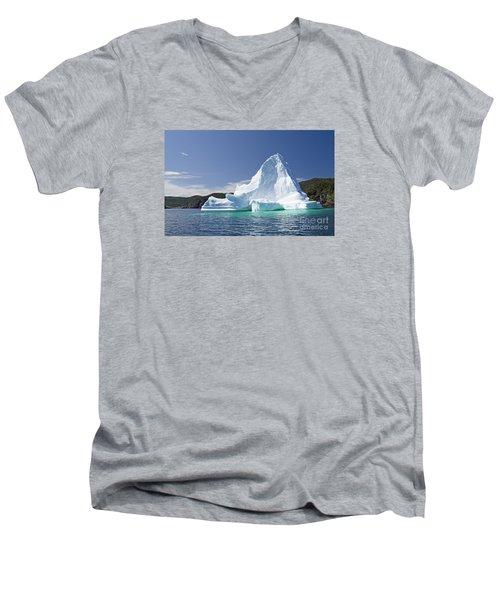 Men's V-Neck T-Shirt featuring the photograph Iceberg Newfoundland Canada by Liz Leyden