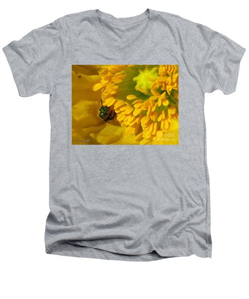 Men's V-Neck T-Shirt featuring the photograph Iceland Poppy Pollination by J McCombie