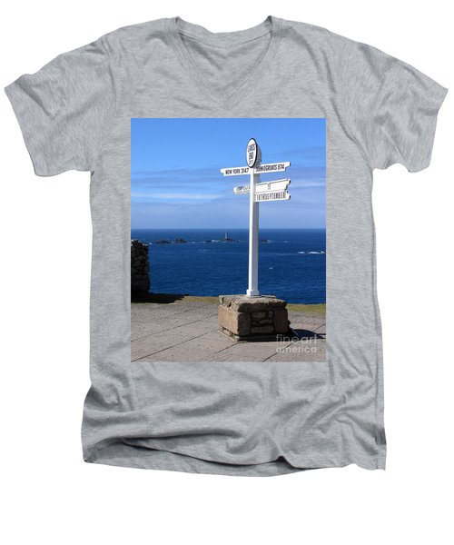 Men's V-Neck T-Shirt featuring the photograph Iconic Lands End England by Terri Waters