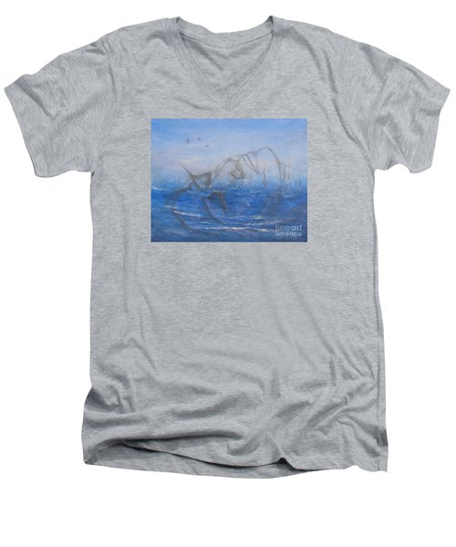 Men's V-Neck T-Shirt featuring the painting If I Could Tell You by Jane  See