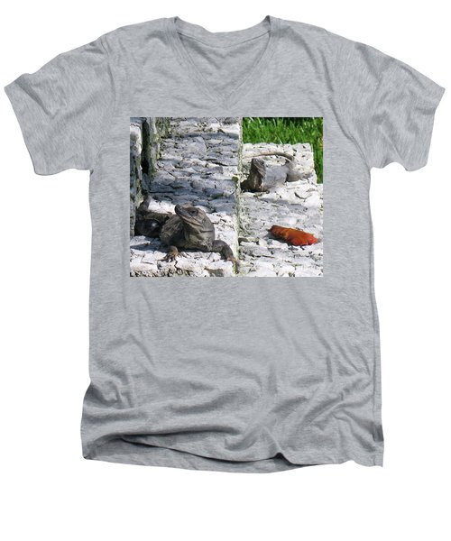 Men's V-Neck T-Shirt featuring the photograph Iguana Bask In The Sun With You by Patti Whitten