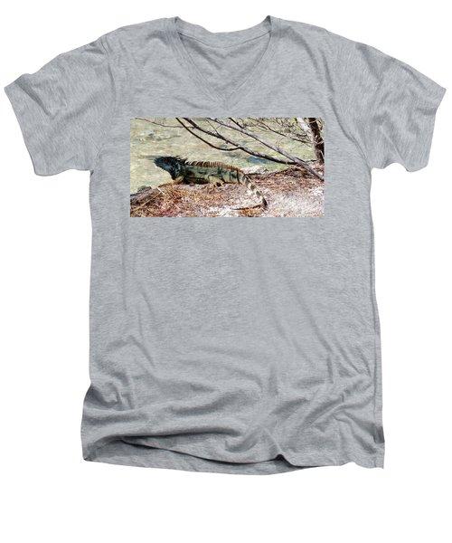 Men's V-Neck T-Shirt featuring the photograph Iguana Iguana by Amar Sheow
