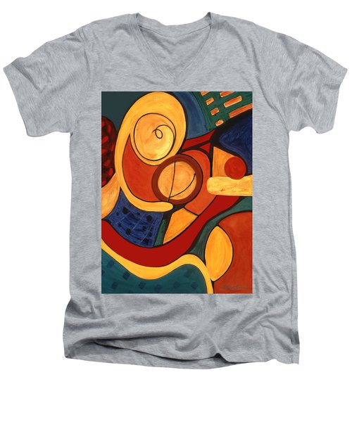 Men's V-Neck T-Shirt featuring the painting Illuminatus 3 by Stephen Lucas
