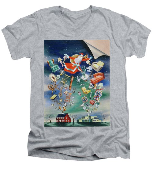 Illustration Of Santa Claus Men's V-Neck T-Shirt