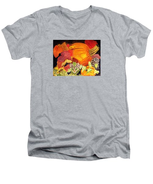 Men's V-Neck T-Shirt featuring the painting I'm Hiding In The Pumpkin Patch by Angela Davies
