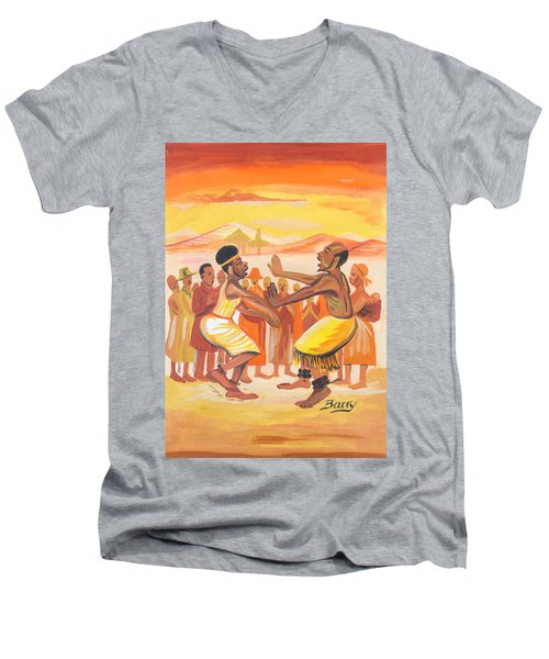 Men's V-Neck T-Shirt featuring the painting Imbiyino Dance From Rwanda by Emmanuel Baliyanga