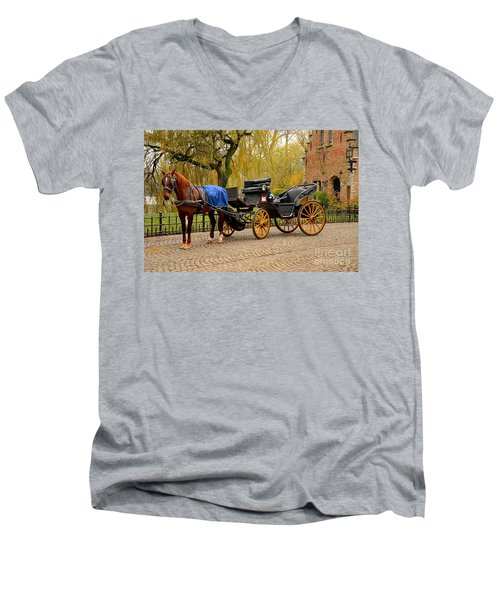 Immaculate Horse And Carriage Bruges Belgium Men's V-Neck T-Shirt