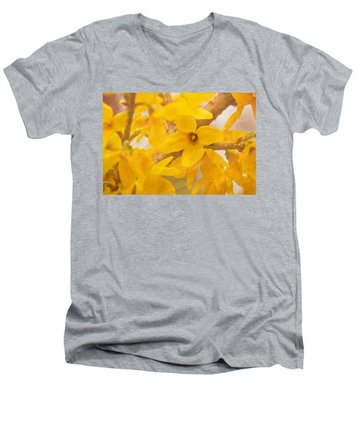 Impressionist Forsythia Men's V-Neck T-Shirt