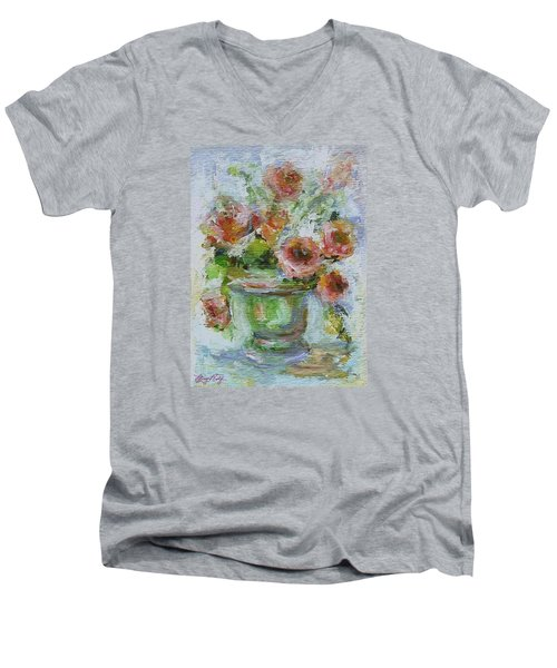 Men's V-Neck T-Shirt featuring the painting Impressionist Roses 2 by Mary Wolf
