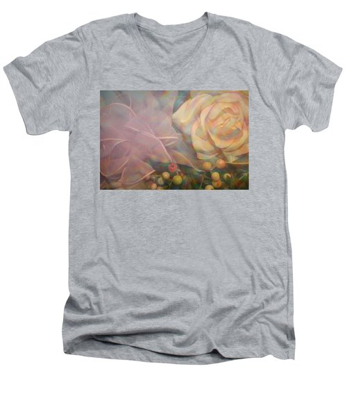 Men's V-Neck T-Shirt featuring the photograph Impressionistic Pink Rose With Ribbon by Dora Sofia Caputo Photographic Art and Design