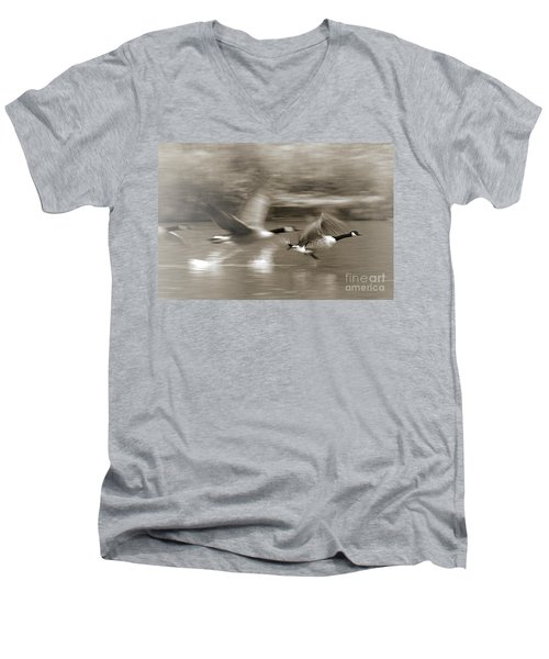 In A Blur Of Feathers Men's V-Neck T-Shirt