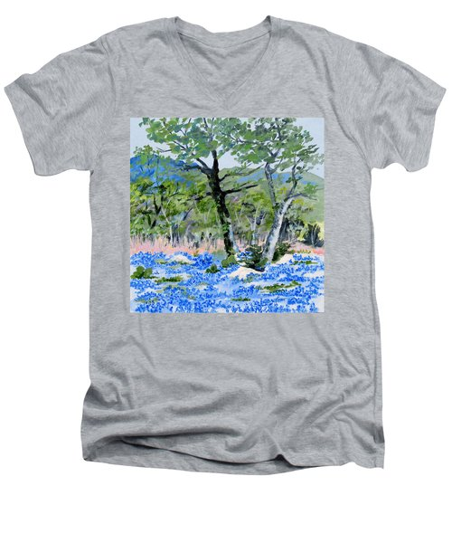 In April-texas Bluebonnets Men's V-Neck T-Shirt
