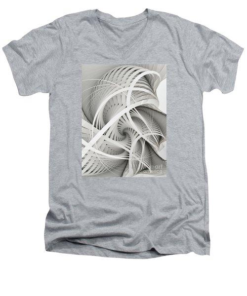 In Betweens-white Fractal Spiral Men's V-Neck T-Shirt by Karin Kuhlmann