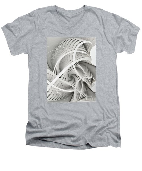 In Betweens-white Fractal Spiral Men's V-Neck T-Shirt
