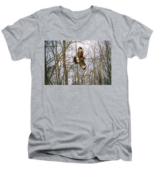 Men's V-Neck T-Shirt featuring the photograph In Flight by David Porteus