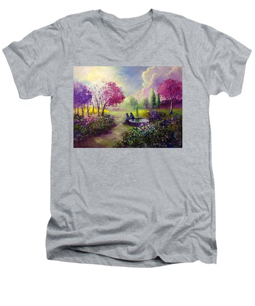 In Heaven Everything Is Fine Men's V-Neck T-Shirt by Randy Burns