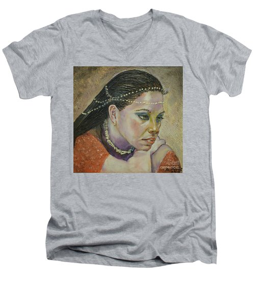 In Her Thoughts Men's V-Neck T-Shirt
