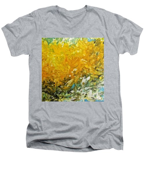 Men's V-Neck T-Shirt featuring the painting In My Magic Garden by Joan Reese