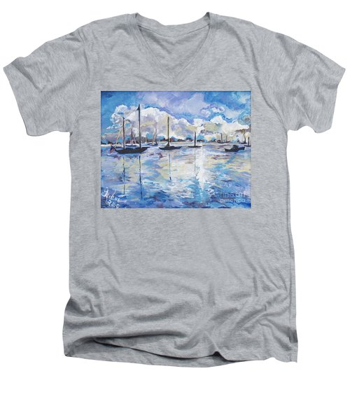 In Search For America's Freedom Men's V-Neck T-Shirt by Helena Bebirian