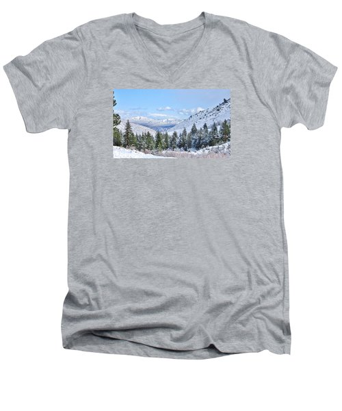 Men's V-Neck T-Shirt featuring the photograph In The Canyon by Marilyn Diaz