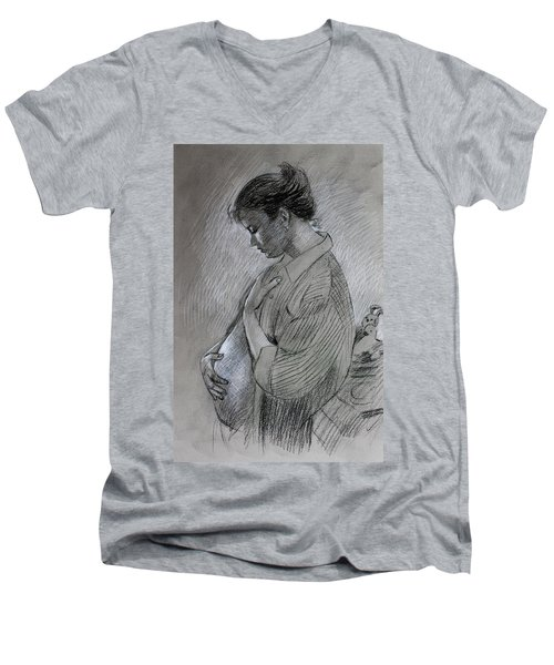 Men's V-Neck T-Shirt featuring the drawing In The Family Way by Viola El