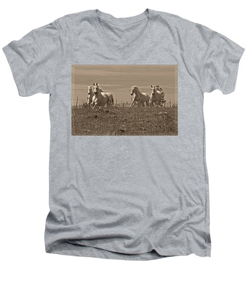 In The Field Men's V-Neck T-Shirt by Wes and Dotty Weber