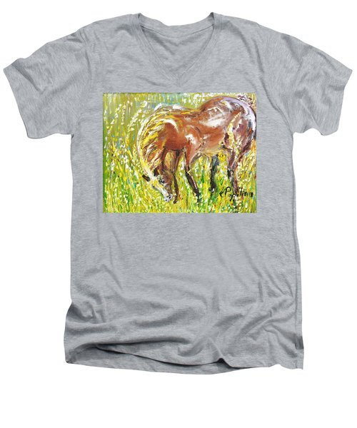 In The Field Men's V-Neck T-Shirt by Evelina Popilian
