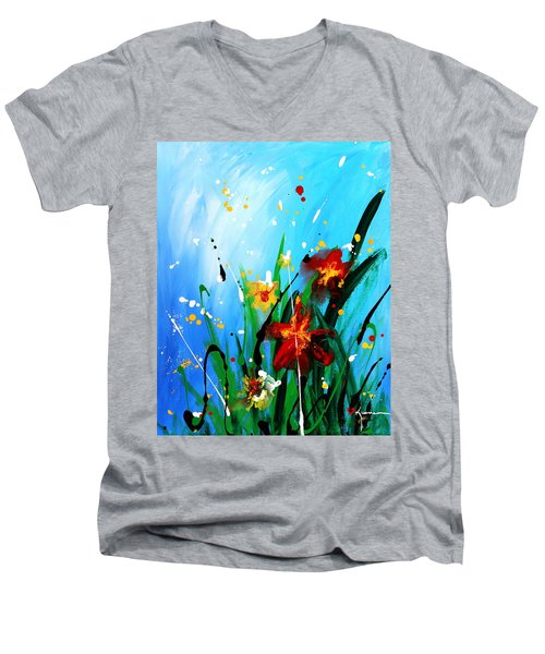 Men's V-Neck T-Shirt featuring the painting In The Garden by Kume Bryant