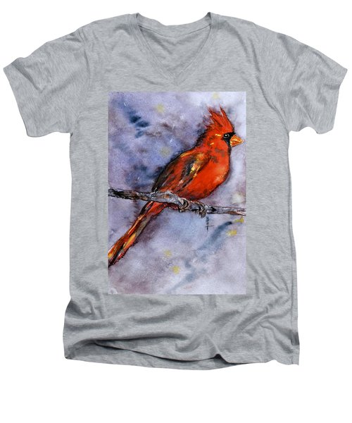 Men's V-Neck T-Shirt featuring the painting In The Moment by Beverley Harper Tinsley