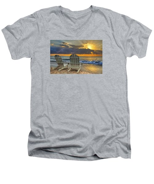 In The Spotlight Men's V-Neck T-Shirt by Debra and Dave Vanderlaan