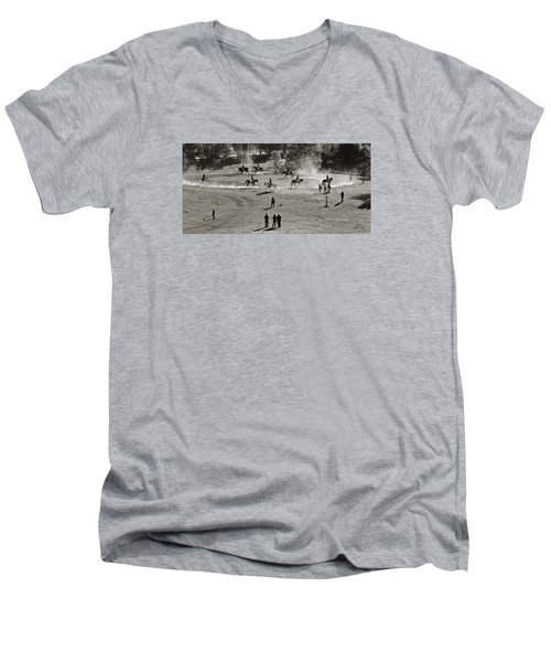 Men's V-Neck T-Shirt featuring the photograph In The Warm Up by Joan Davis