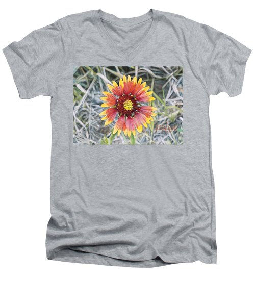 Men's V-Neck T-Shirt featuring the painting Indian Blanket by Joshua Martin