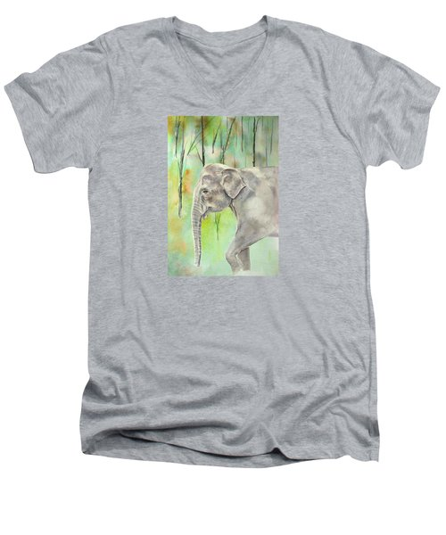 Men's V-Neck T-Shirt featuring the painting Indian Elephant by Elizabeth Lock