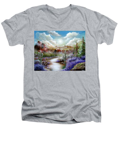 Men's V-Neck T-Shirt featuring the painting Indian Gin And Whiskey Dry by Patrice Torrillo