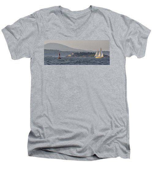 Men's V-Neck T-Shirt featuring the photograph Indian Island Lighthouse - Rockport - Maine by Marty Saccone