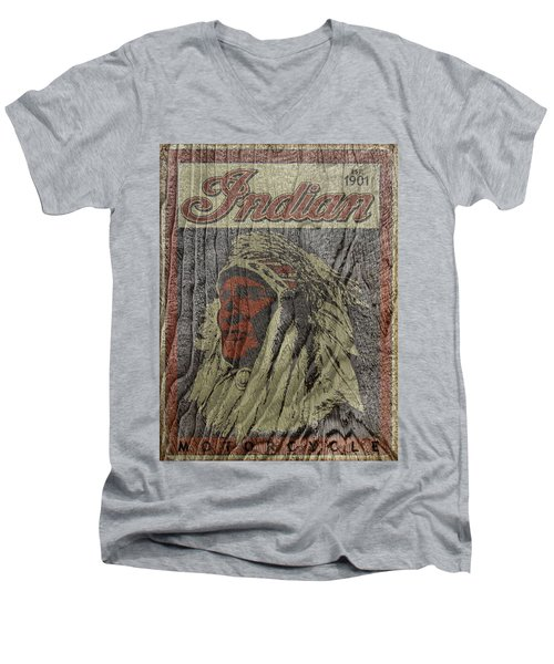 Indian Motorcycle Postertextured Men's V-Neck T-Shirt