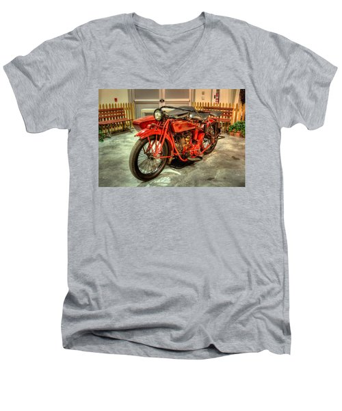 Indian Motorcycle With Sidecar Men's V-Neck T-Shirt
