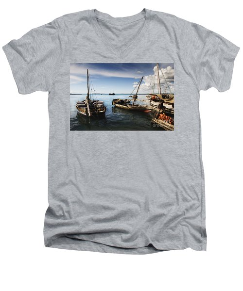 Indian Ocean Dhow At Stone Town Port Men's V-Neck T-Shirt by Amyn Nasser