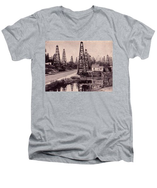 Men's V-Neck T-Shirt featuring the drawing Indiana Petroluem Wells Circa 1900 by Peter Gumaer Ogden