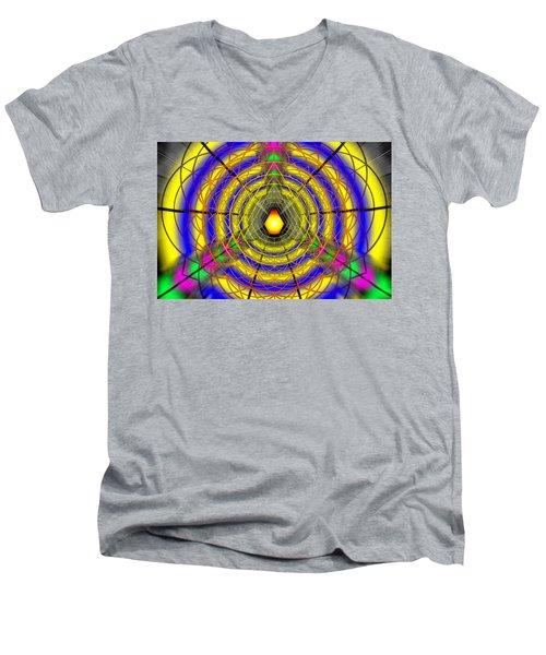 Men's V-Neck T-Shirt featuring the drawing Infinity Gateway Nine by Derek Gedney