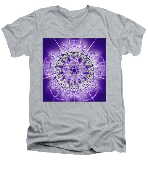 Men's V-Neck T-Shirt featuring the drawing In'phi'nity Star-map by Derek Gedney