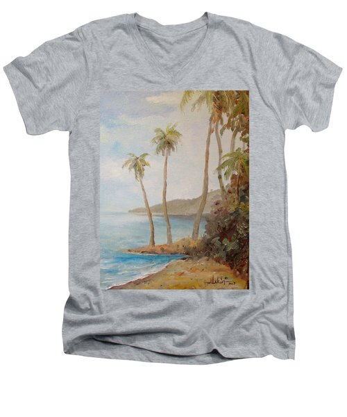 Men's V-Neck T-Shirt featuring the painting Inside The Reef by Alan Lakin