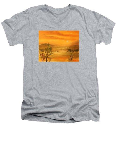 Intense Orange Men's V-Neck T-Shirt by Remegio Onia