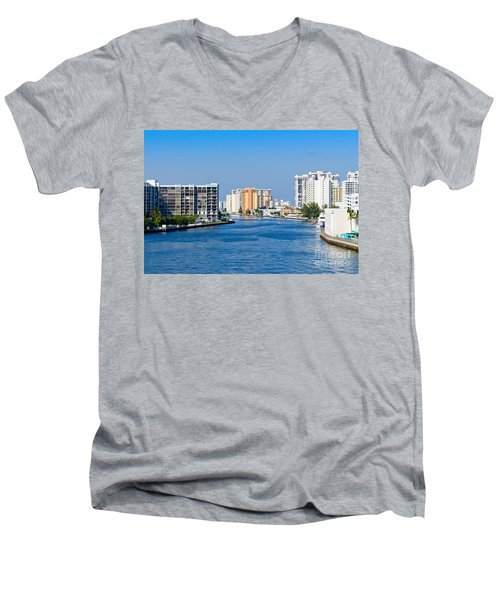 Intracoastal Waterway In Hollywood Florida Men's V-Neck T-Shirt by Les Palenik