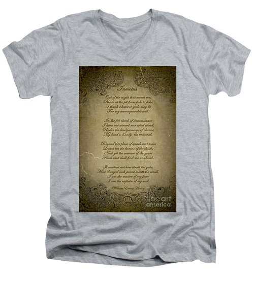 Invictus By William Ernest Henley Men's V-Neck T-Shirt by Olga Hamilton