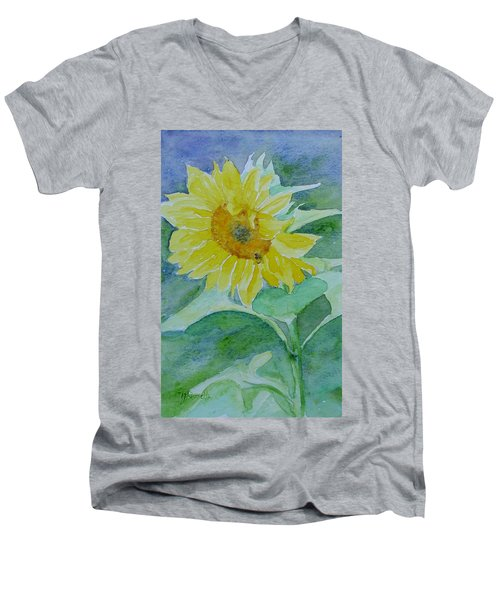 Inviting Sunflower Small Sunflower Art Men's V-Neck T-Shirt by Elizabeth Sawyer