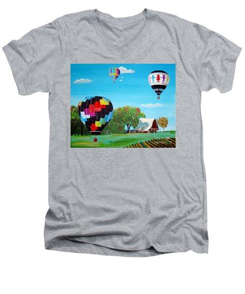 Iowa Balloons Men's V-Neck T-Shirt by Phyllis Kaltenbach
