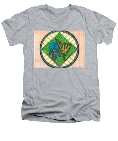 Iris And Butterfly Men's V-Neck T-Shirt